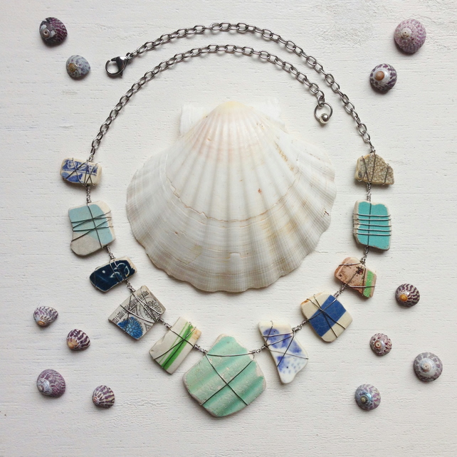 Oceanic hued statement necklace made with sea glass and sea pottery