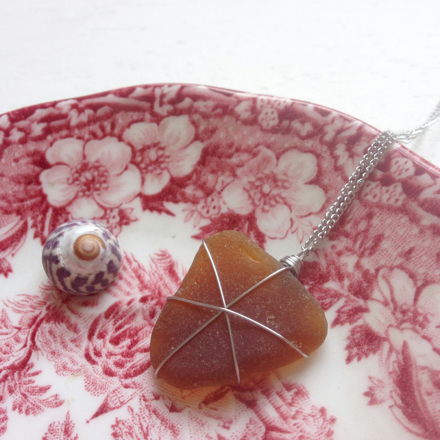 Beer bottle brown sea glass star necklace