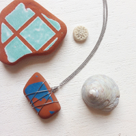 Terracotta and turquoise sea pottery necklace