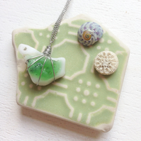 White milk glass and emerald green bonfire glass necklace (sea glass)