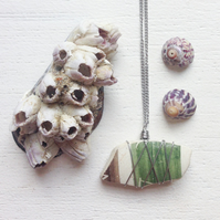 Brown and green earthy sea pottery necklace