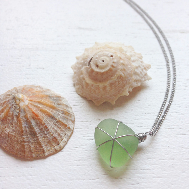 Pale green star sea glass necklace