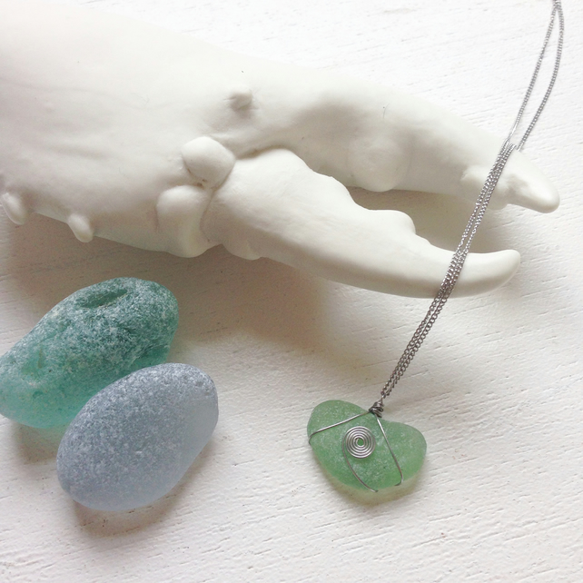Dark aquamarine blue green sea glass necklace