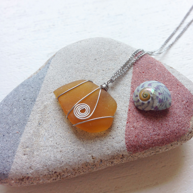 amber sea glass swirl necklace