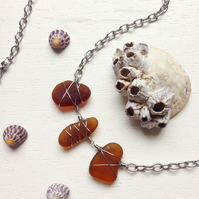Trio of brown sea glass necklace