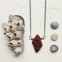 Brown kite wire wrapped sea glass necklace