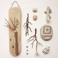 Dinglehopper wall hanging made with beach found materials