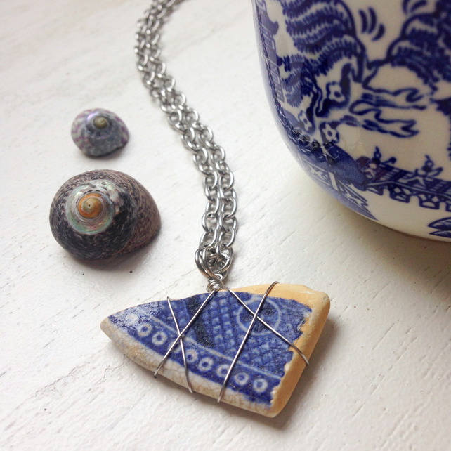 Long Willow sea pottery ceramic beach shard necklace