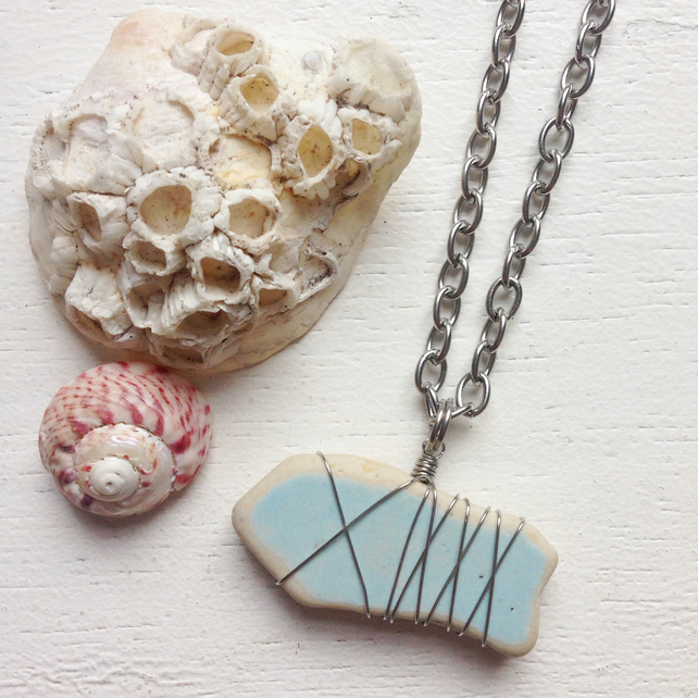 Long powder blue chunky sea pottery beach necklace