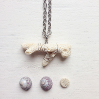 Long beach tumbled coral necklace