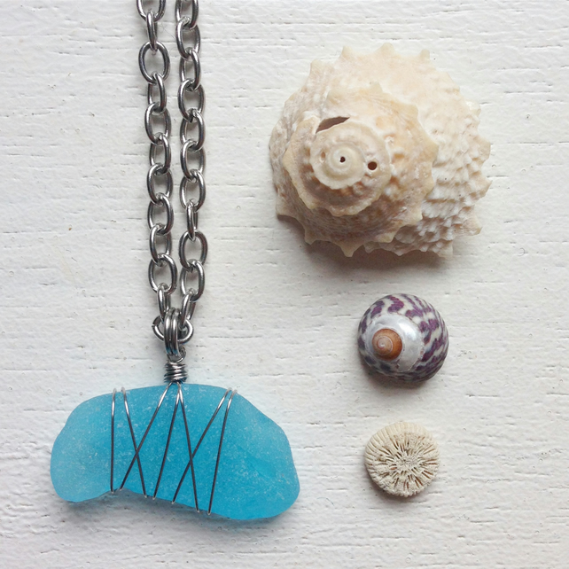 Long Turquoise sea glass wire wrapped beach necklace