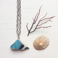 Long black and turquoise ceramic sea pottery triangle necklace