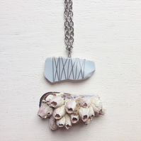 Long chalky blue sea pottery wire wrapped necklace