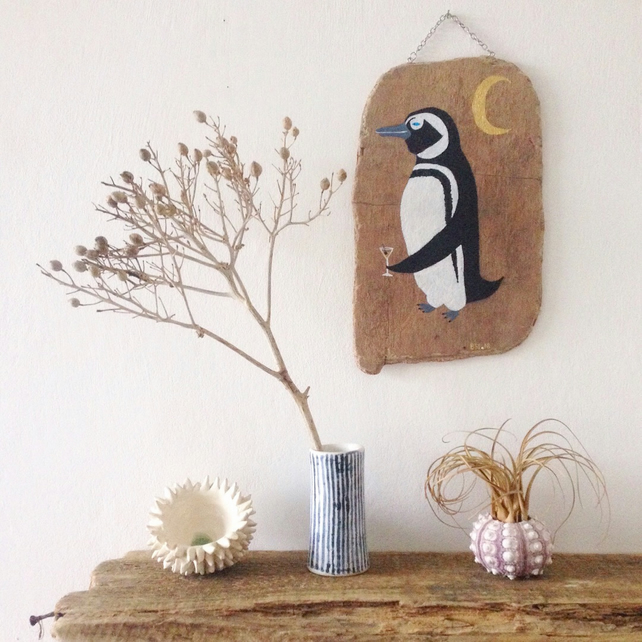 Penguin and Martini painting on driftwood