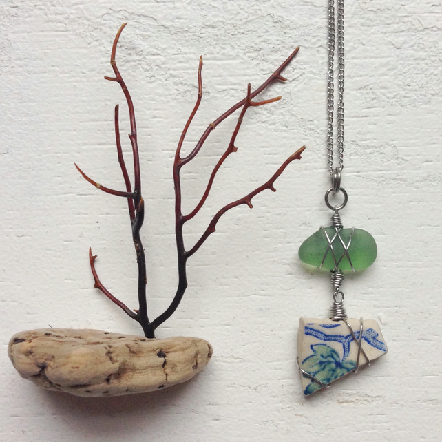 Leafy sea pottery and mossy green sea glass botanical necklace