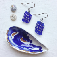Cobalt criss cross sea glass earrings