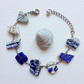 Cobalt and Willow sea glass and pottery bracelet