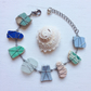 Blue and green pottery and sea glass bracelet