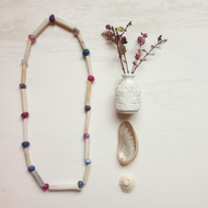 Clay pipe and rainbow fluorite LONG necklace