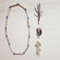 Clay pipe and blue lace agate LONG necklace