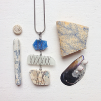Triple drop sea plastic, sea pottery and sea glass necklace