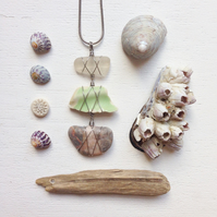 pink and green Sea glass, pottery and beach stone necklace