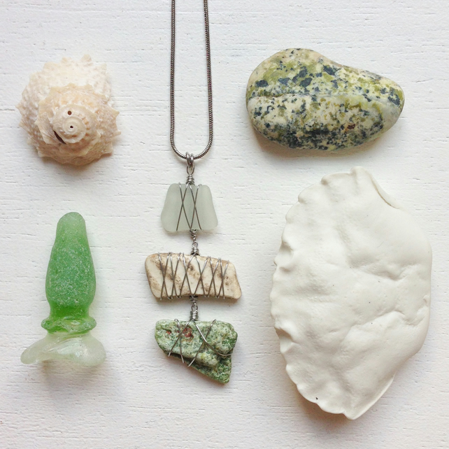 Triple drop sea glass, pottery and green beach stone necklace