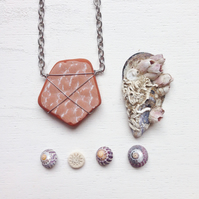 Long speckled rose sea pottery necklace
