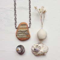 Long rustic Stripe sea pottery boho necklace
