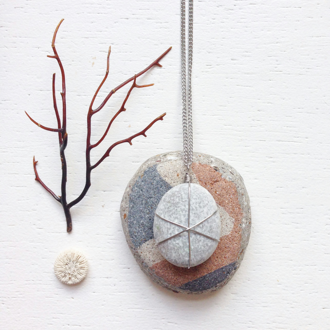 Grey speckled beach stone necklace