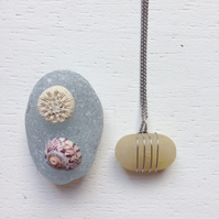 Cornish beach tumbled quartz necklace