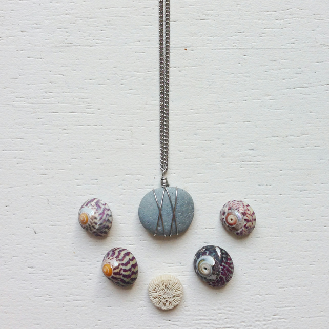 Little grey beach pebble wire wrapped necklace