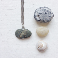 little mottled grey beach stone necklace