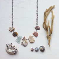 Rustic hued sea glass and pottery beach necklace