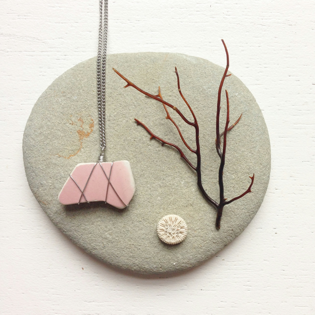 Dusty rose sea pottery star necklace