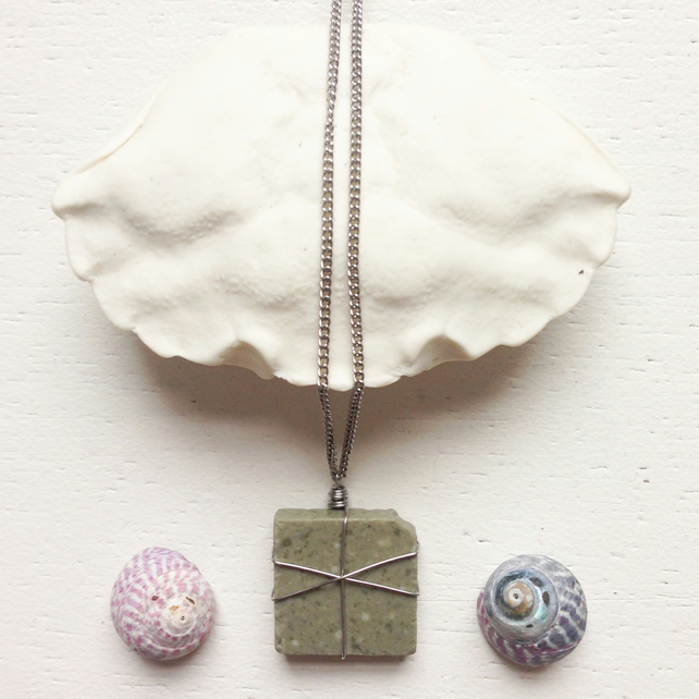 Grey mosaic tile sea pottery necklace