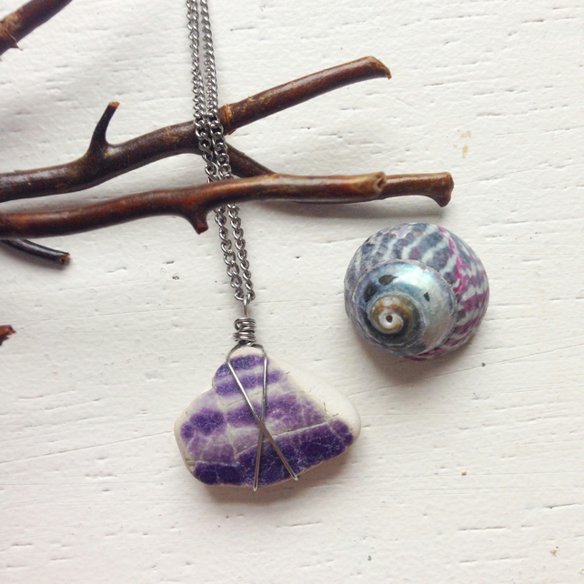 Little purple sea pottery star necklace