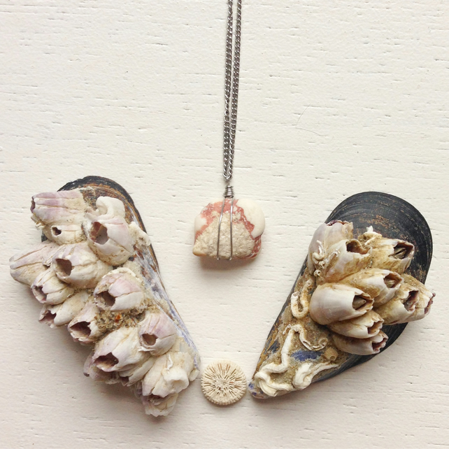 Pretty pink and white spotted beach stone necklace