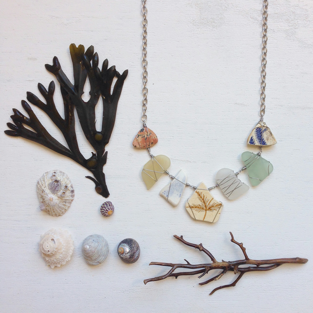 Seaweed ceramic and sea glass necklace