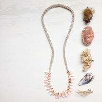 Long mermaid necklace knitted hemp rope and sea shell beach necklace