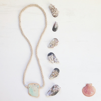 Chunky soft turquoise sea pottery and hemp long necklace