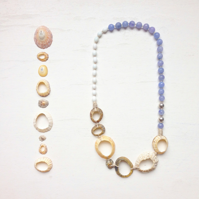 Limpet shell rings, blue lace agate and hemp beach necklace