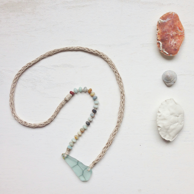 Sea glass, amazonite and hemp long beach necklace