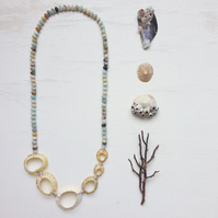 Limpet Shell, Amazonite and hemp long statement beach necklace