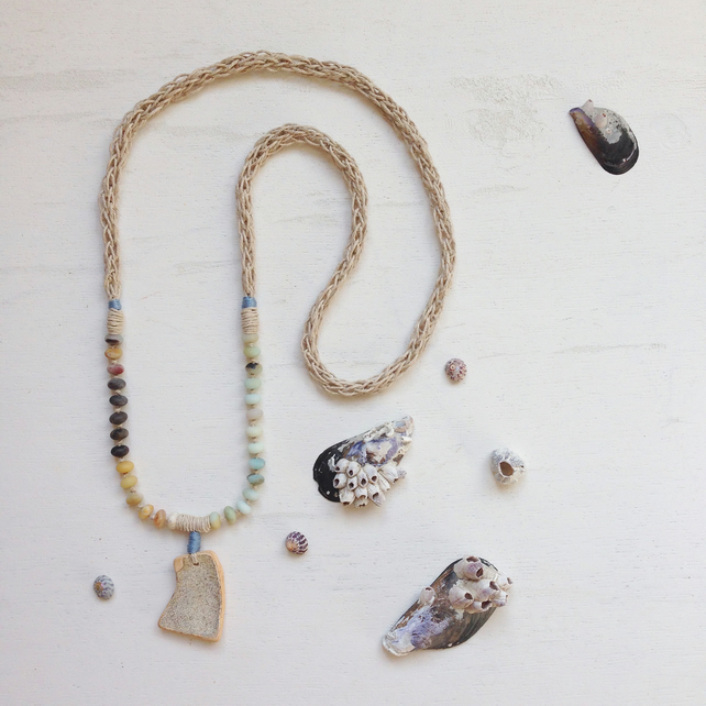 Crackled glaze sea pottery and knitted hemp long beach necklace
