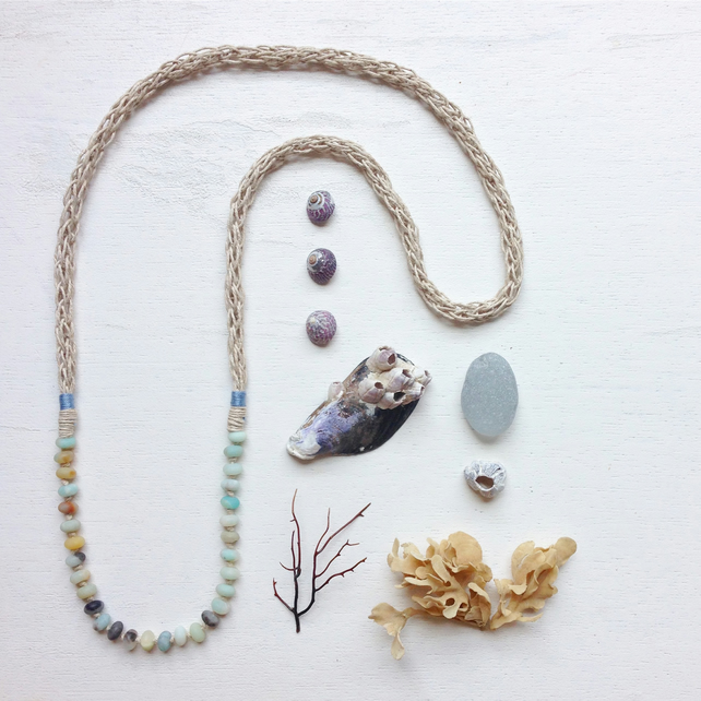 Amazonite and knitted hemp blue long beach necklace