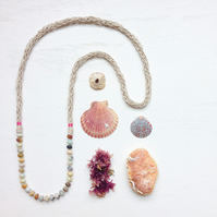 Amazonite and knitted hemp long pink beach necklace