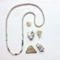 Amazonite and knitted hemp long green beach necklace
