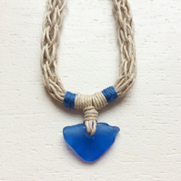Hemp and cobalt sea glass beach necklace