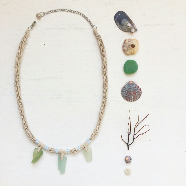 Trio of blue sea glass and hemp rope necklace